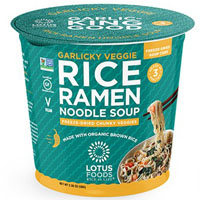 Garlicky Veggie Rice Ramen Noodle Soup with Freeze-Dried Chunky Veggies