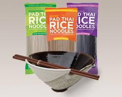 Organic Pad Thai Rice Noodles with Handmade Ceramic Bowl